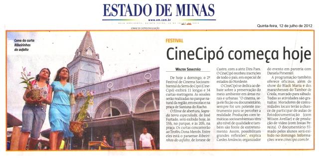 Cinecipo 2012 jornal estado de minas